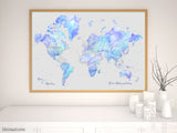 "Personalized world map print - highly detailed map with cities in fluid alcohol ink style. ""Arella"""