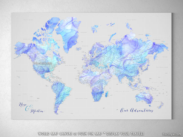 "Personalized large & highly detailed world map canvas print or push pin map in fluid ink style. ""Arella"""