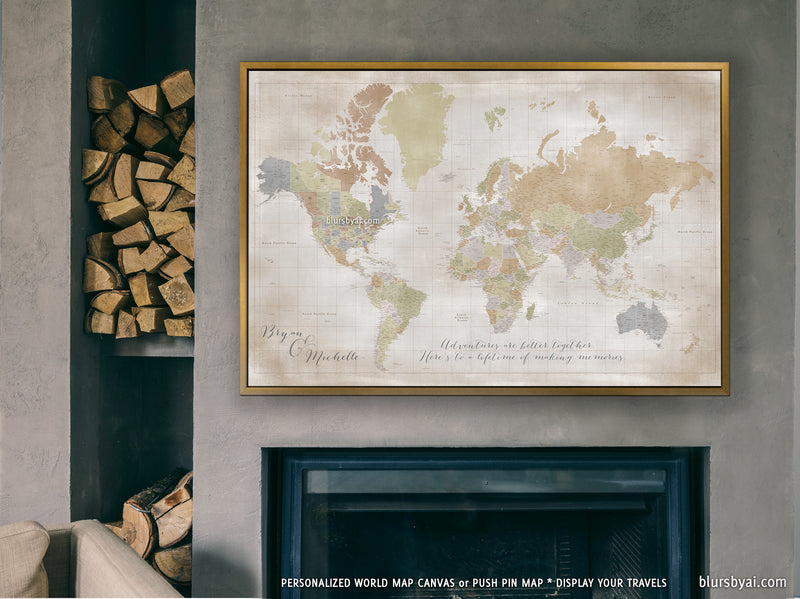 "Custom large & highly detailed world map canvas print or push pin map in distresed fall colors. ""Michelle"""