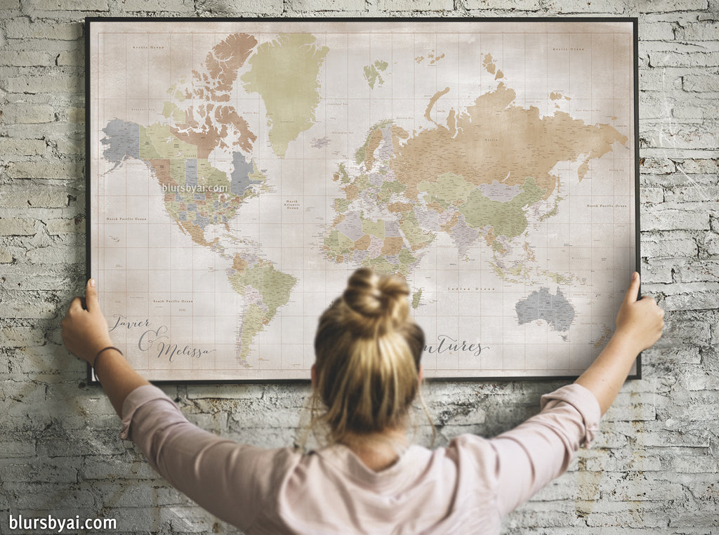 "Custom world map print - highly detailed map with cities in fall distressed color. ""Michelle"""