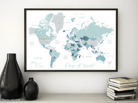 "Personalized map print: world map with countries and states in muted hues. ""Muted beach"""