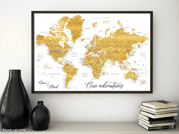 "Wedding guestbook map print: gold world map with cities in faux gold foil effect. ""Rossie"""