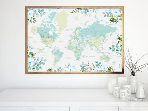 Personalized print: world map with cities in green and blue, with watercolor florals and greenery