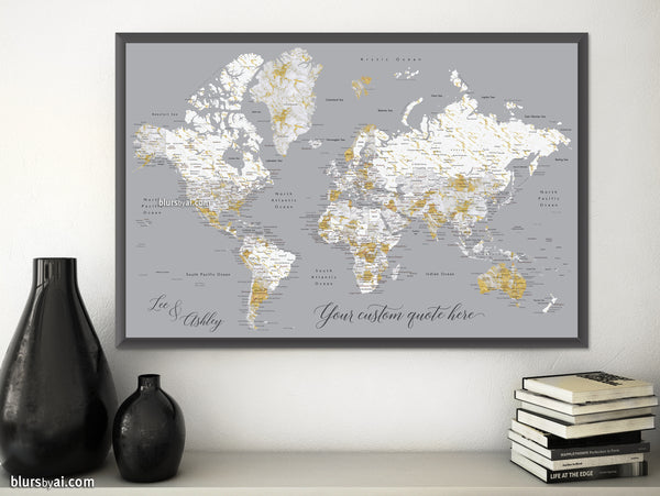 "Custom print: marble world map with cities in gray and gold. ""Reagan"""