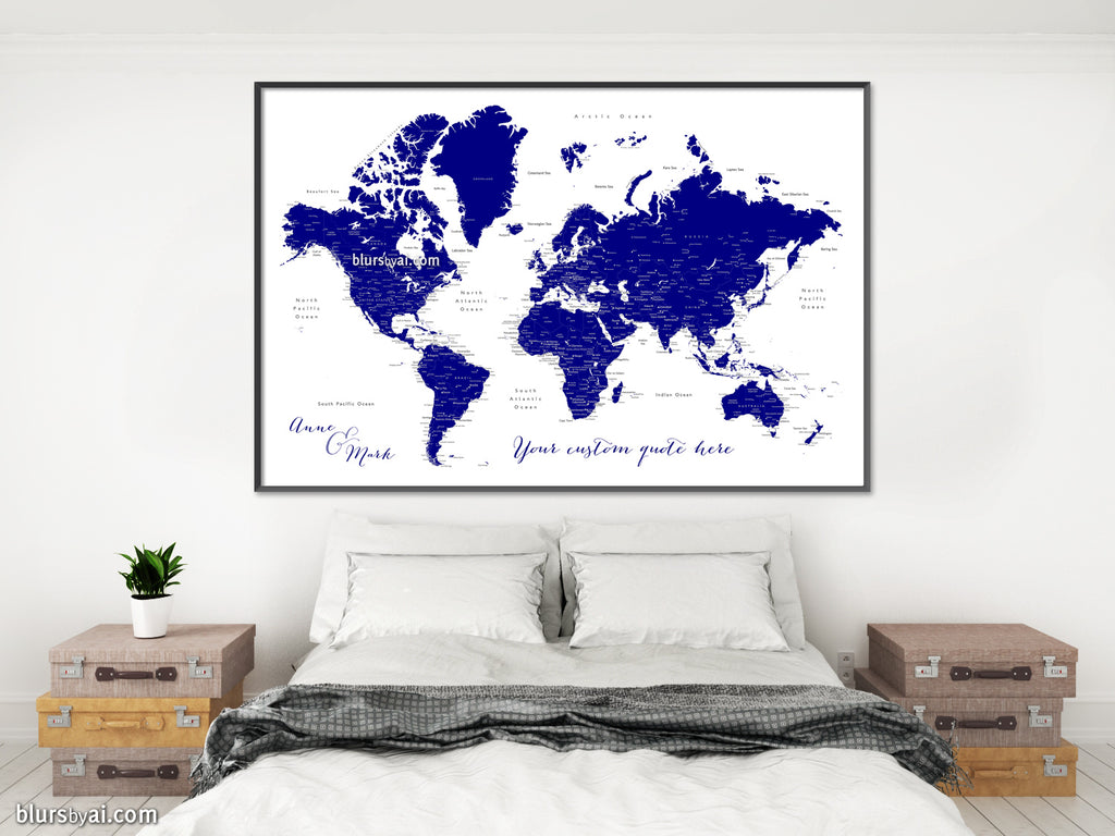 "Custom map print: navy blue world map with cities, ""Nevin"""