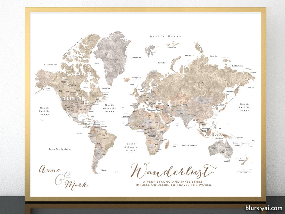 Personalized printable world map with countries and states labelled in neutral watercolor
