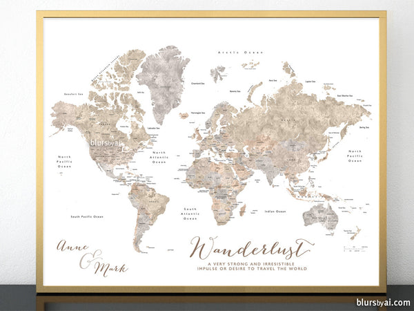 image about Printable World Map titled Custom made printable worldwide map with nations and claims labelled inside of impartial watercolor. \