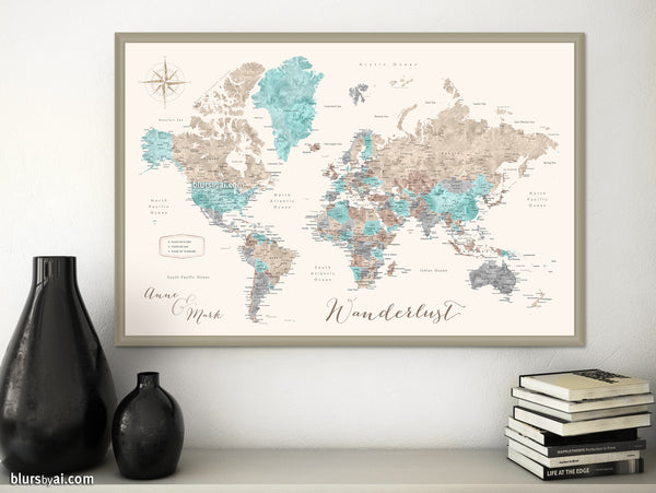 "Personalized print: world map with cities in beige, brown, aquamarine and grey. ""Romy"""