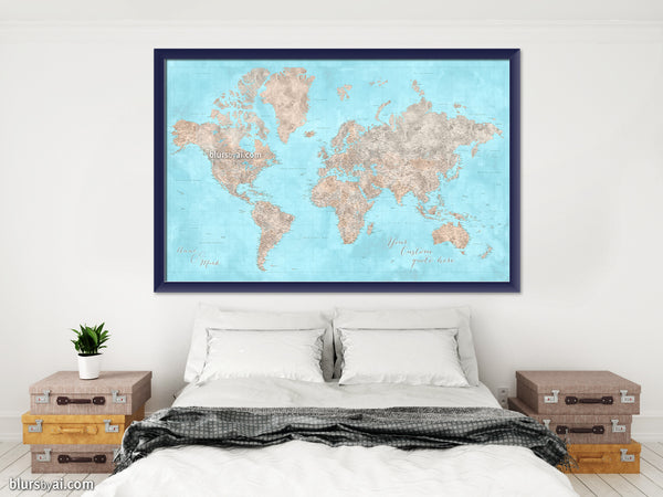 "Custom world map print - highly detailed map with cities in light blue and brown watercolor. ""Henry"""