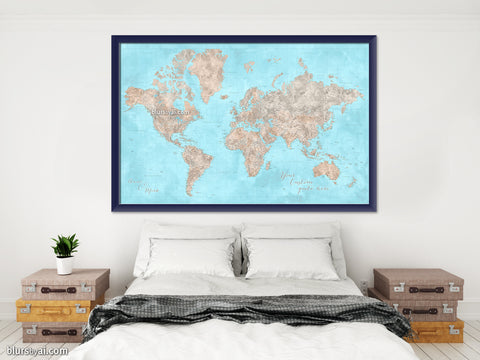 "Personalized world map print - highly detailed map with cities in light blue and brown watercolor. ""Henry"""