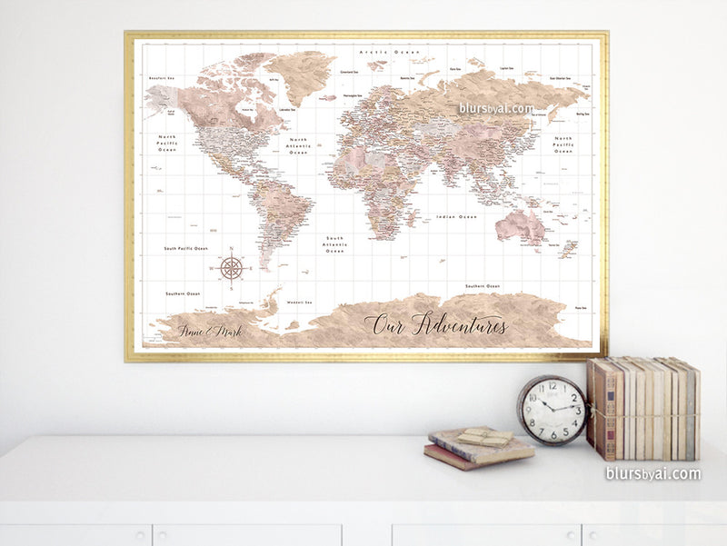 "Custom quote printable world map with cities and Antarctica in warm neutral watercolor. ""Abey Two"""