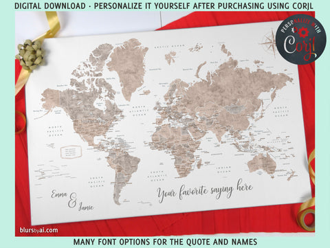 "Personalized PRINTABLE world map with countries, states and country capitals, ""Abey"", edit-it-yourself using CORJL - Instant download"
