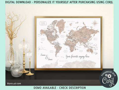"20x16"" Personalized PRINTABLE world map with countries, states and country capitals, ""Abey"", edit-it-yourself using CORJL - Instant download"