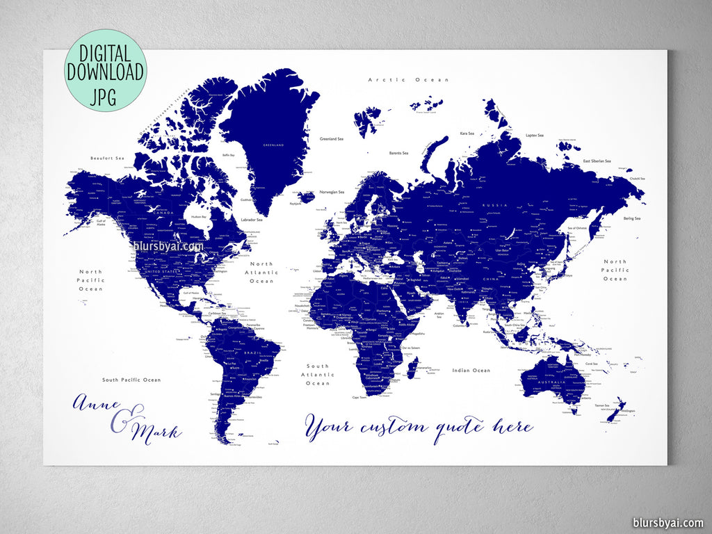 Custom printable navy blue world map with cities, capitals, countries, US  States... labeled. \