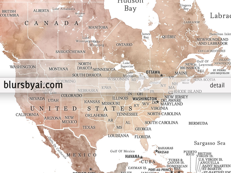 "Personalized PRINTABLE world map with countries, states and country capitals, ""Kaiya"", edit-it-yourself using CORJL - Instant download for PERSONAL USE"