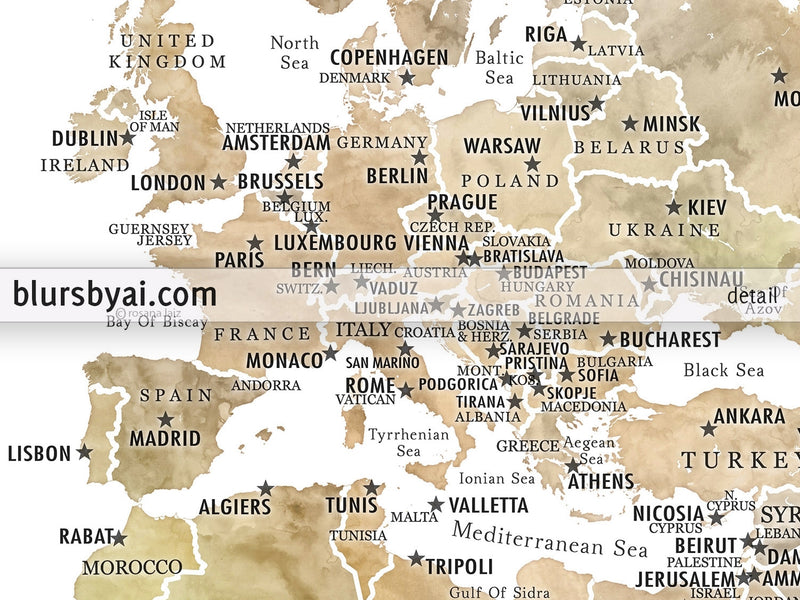 "Personalized PRINTABLE world map with countries, states and country capitals, ""Ballari"", edit-it-yourself using CORJL - Instant download for PERSONAL USE"