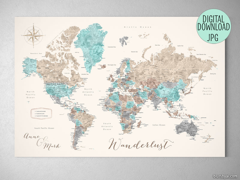 Custom quote - watercolor printable world map with cities, capitals, countries, US States... labeled. Color combination: Romy