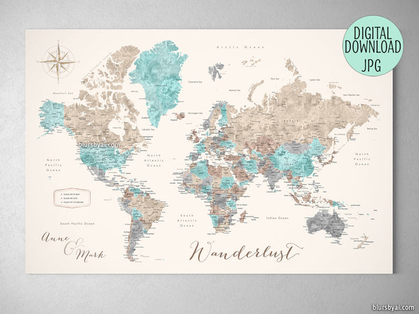 graphic relating to World Map Printable Color titled Personalized quotation - watercolor printable planet map with metropolitan areas, capitals, nations around the world, US Suggests categorized. Coloration mixture: Romy
