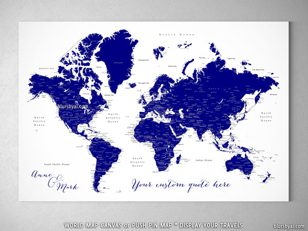 "Custom world map with cities, canvas print or push pin map in navy blue. ""Nevin"""
