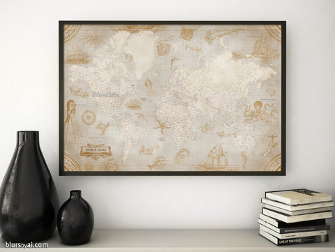 "Personalized world map print - highly detailed, vintage looking current world map with sea monsters and sail ships. ""Mar"""