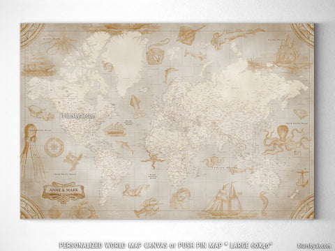 "Personalized large & highly detailed world map canvas print or push pin map with sea monsters and sail ships. ""Mar"""