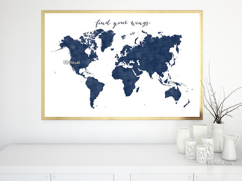 Printable personalized world map with countries in true navy blue custom quote printable world map in navy blue and distressed texture publicscrutiny Choice Image