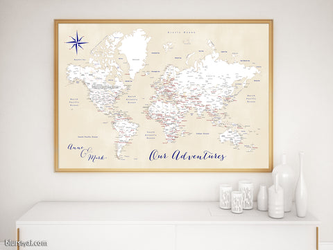 "Personalized print: world map with cities in white, cream, navy blue and red. ""Deuce"""