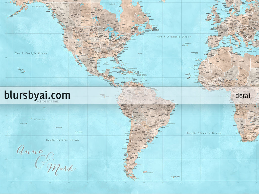 Detailed Map Of The World.Custom World Map Print Highly Detailed Map With Cities In Light Blue And Brown Watercolor Henry