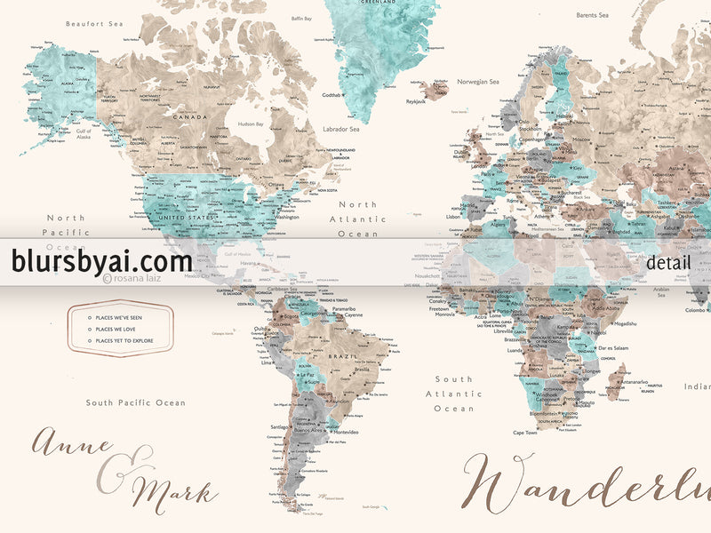 "Custom print: world map with cities in beige, brown, aquamarine and grey. ""Romy"""