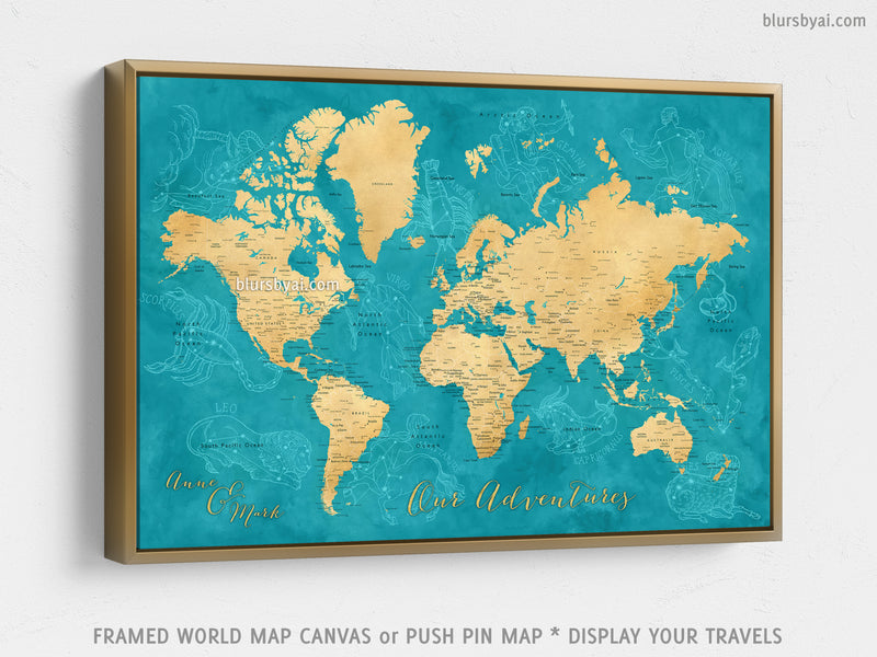 "Custom world map with cities, canvas print or push pin map with zodiac constellations. ""Lexy"""