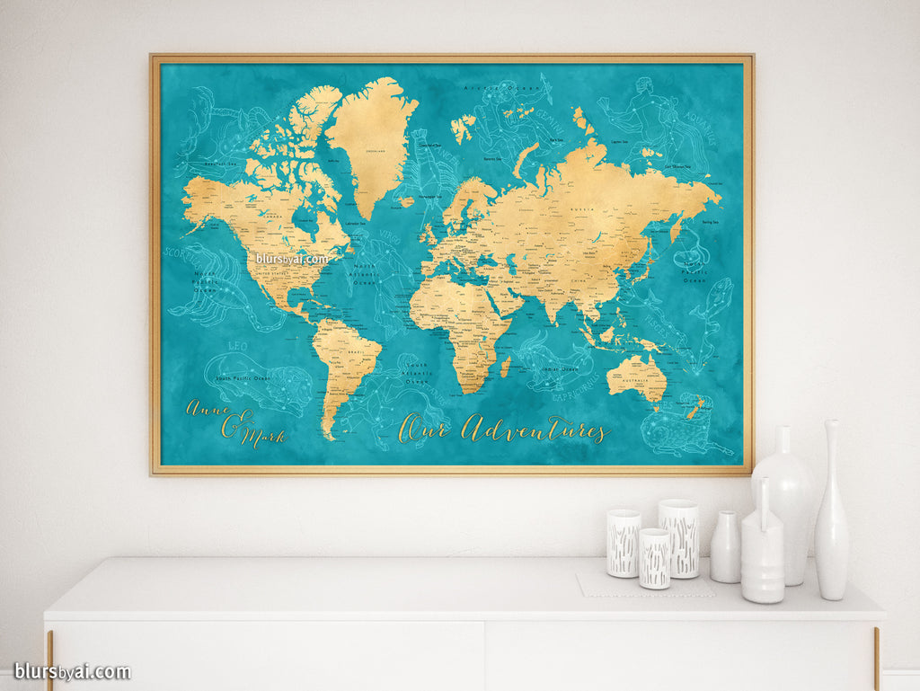 "Custom map print: world map with cities and zodiac constellation drawings. ""Lexy"""