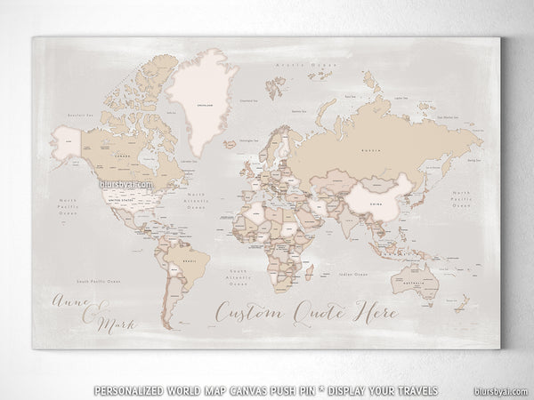 "Personalized world map with countries & states, canvas print or push pin map. ""Lucille"""