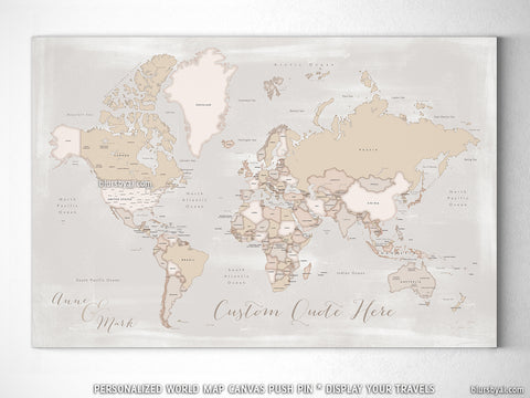 "Custom world map with countries & states, canvas print or push pin map. ""Lucille"""