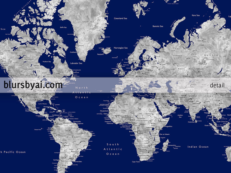"Personalized PRINTABLE world map with cities, ""Kawena"", edit-it-yourself using CORJL - Instant download for PERSONAL USE"