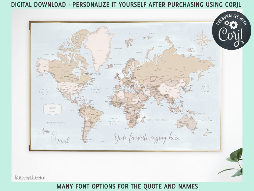 "Personalized PRINTABLE world map with cities, ""Renisha"", edit-it-yourself using CORJL - Instant download for PERSONAL USE"