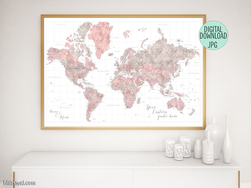 "Customized PRINTABLE highly detailed world map with cities. ""Piper"""