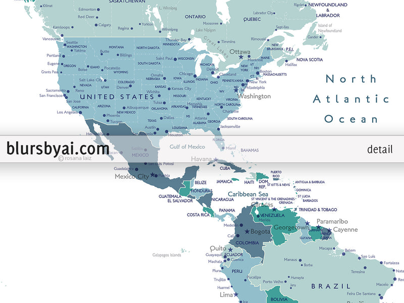 "Personalized PRINTABLE world map with cities, ""Mayra"", edit-it-yourself using CORJL - Instant download for PERSONAL USE"