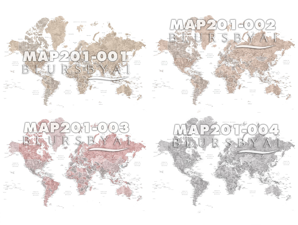 Custom world map print on rolled canvas, with cities and US state capitals. ALL COLOR CHOICES.