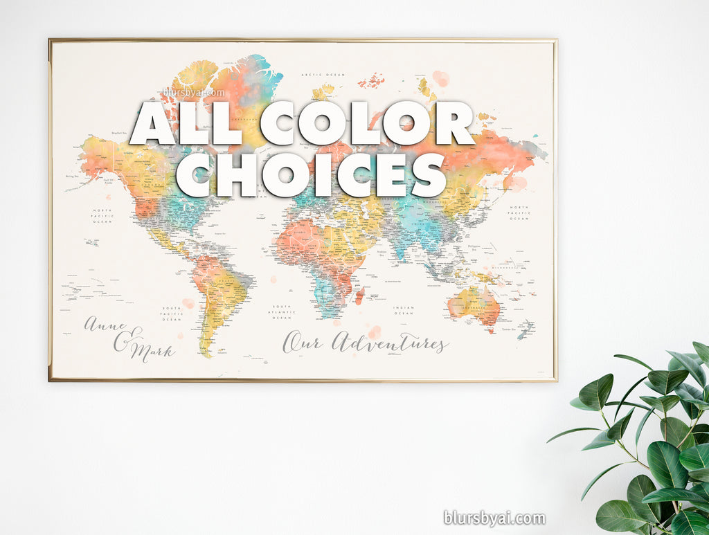 Art print on paper: custom detailed world map with cities and US state capitals. ALL COLOR CHOICES