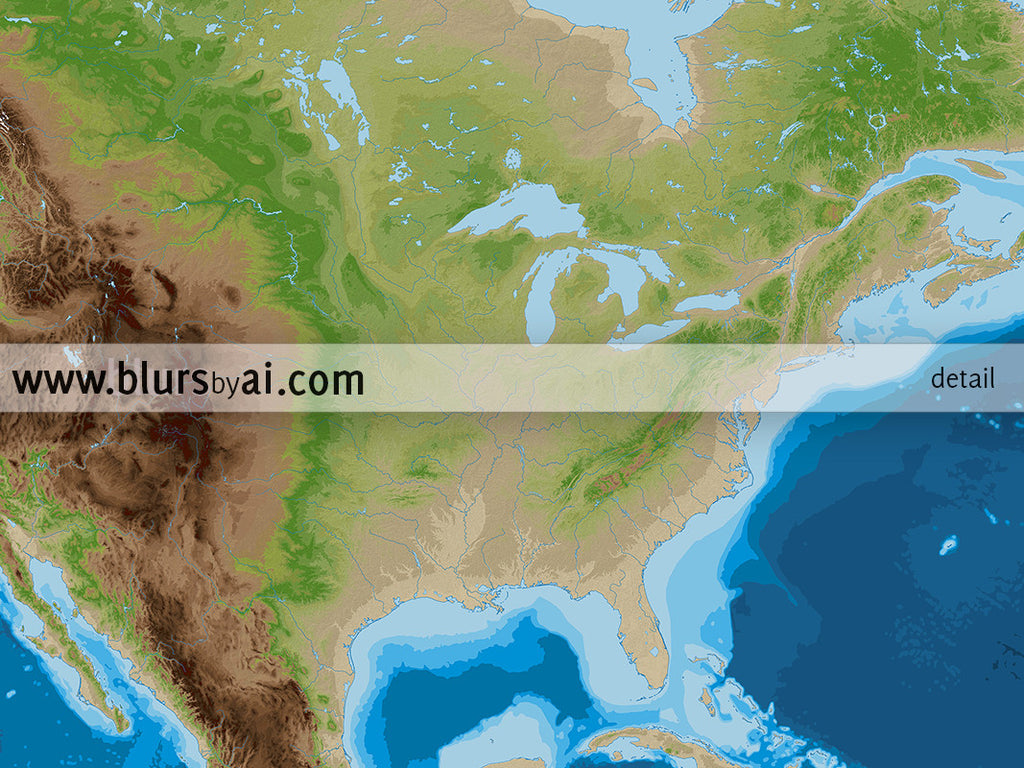 Printable Topographic Map Of North America 36x24 Blursbyai