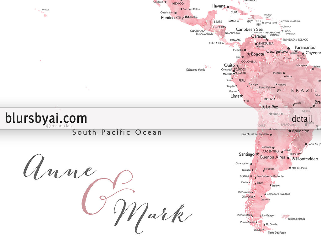 Personalized Pink Watercolor Printable World Map With Cities - Printable us map with states labeled