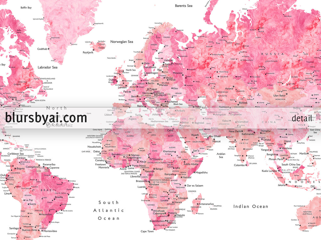 Custom quote - shades of pink watercolor printable world map with cities,  capitals, countries, US States... labeled. \