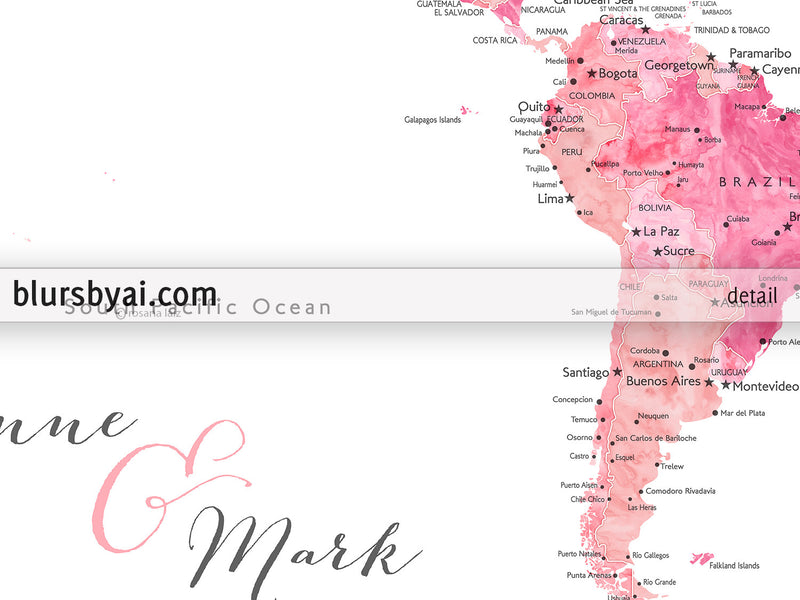 "Custom quote - shades of pink watercolor printable world map with cities, capitals, countries, US States... labeled. ""Azalea"""