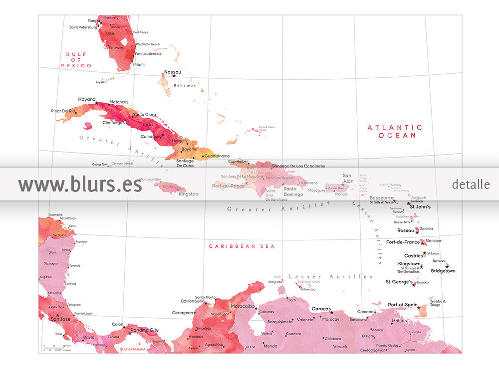 It is a graphic of Tactueux Printable Map of the Caribbean