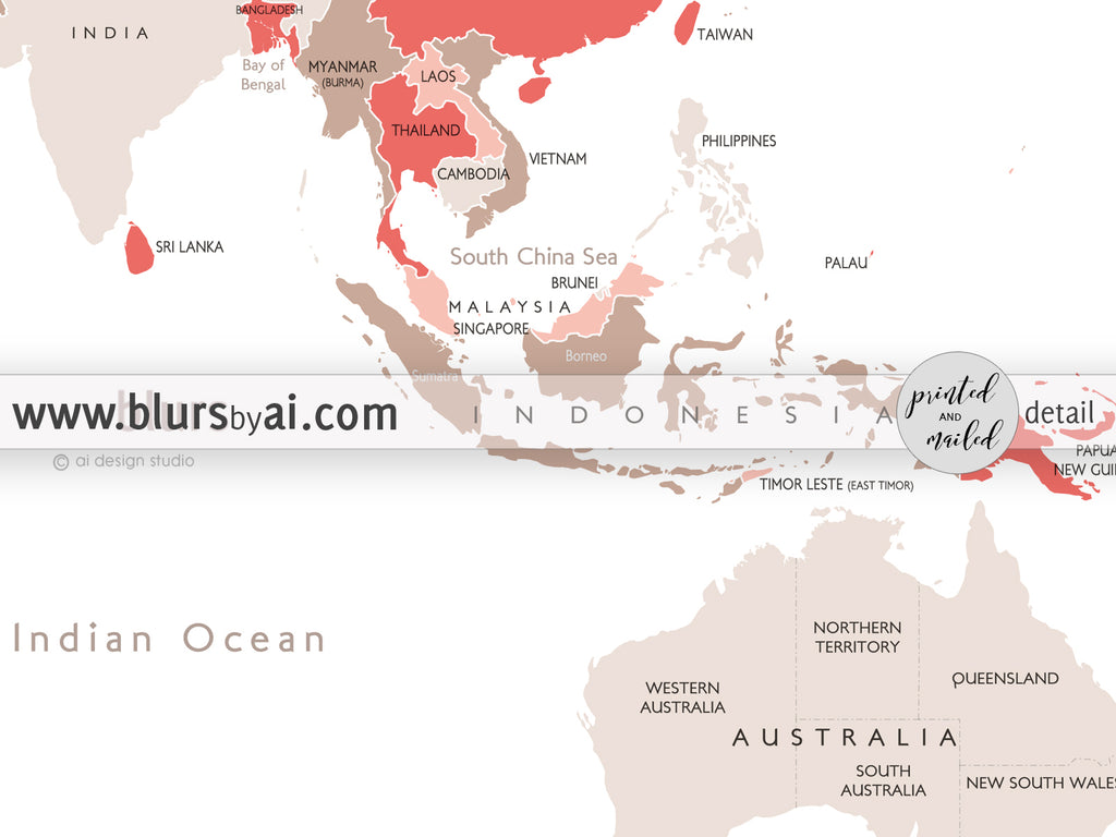 Personalized map print world map with countries and states in coral personalized map print world map with countries and states in coral and taupe gumiabroncs Choice Image