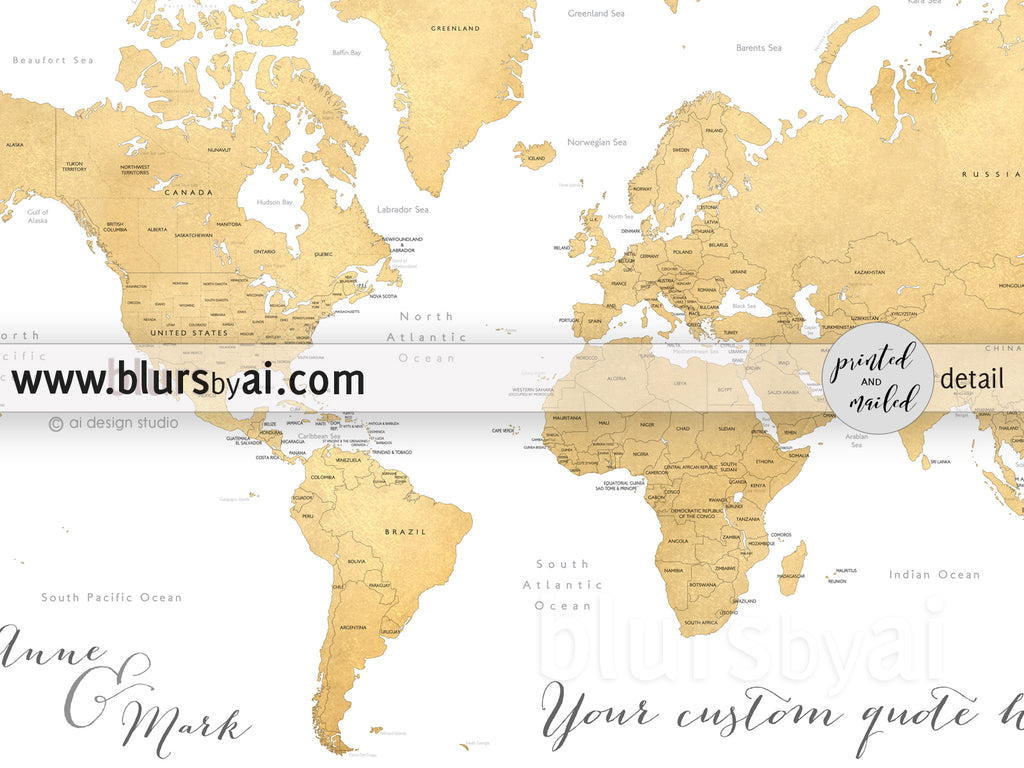 "Custom map print: gold world map with countries and states. ""Rossie"""
