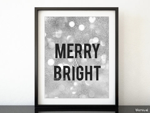 Merry & Bright Christmas decor in silver glitter