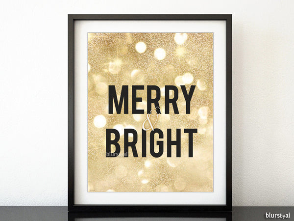 Merry & Bright Printable Christmas decor in gold glitter