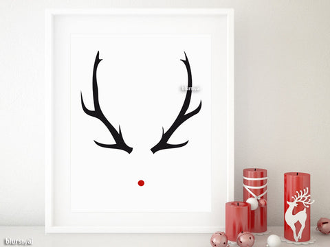 Printable Christmas decor: Rudolph red nose and black antlers sign