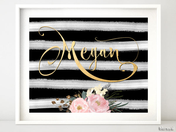 Custom name art in whimsical gold calligraphy